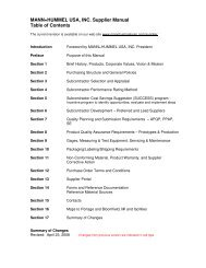 MANN+HUMMEL USA, INC. Supplier Manual Table of Contents
