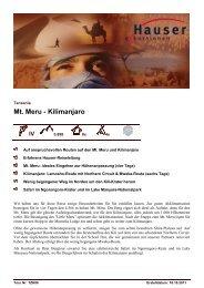 Mt. Meru - Kilimanjaro - Hauser exkursionen