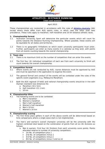 ATHLETICS - DISTANCE RUNNING - Australian University Sport