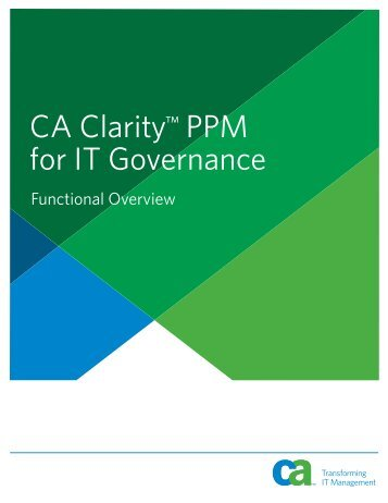 CA Clarity™ PPM for IT Governance