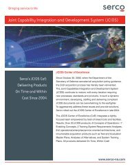 Joint Capability Integration and Development System (JCIDS) - Serco