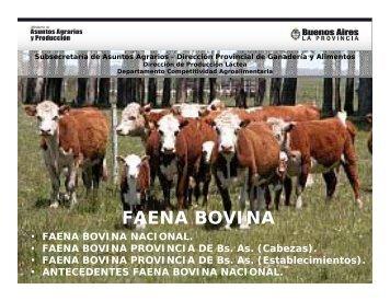 FAENA BOVINA - Ministerio de Asuntos Agrarios