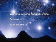 China vs Hong Kong Working Experience - Actuarial Society of ...