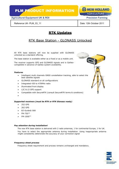 PLM Product RTK Base Station Repeater Information pdf