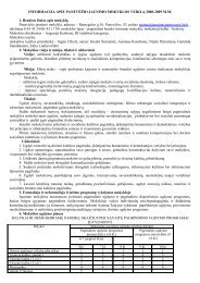 informacija apie panevėžio jaunimo mokyklos veiklą 2008-2009 m