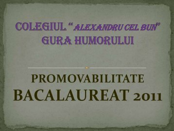Promovabilitatea Bacalaureat 2011