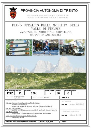 Rapporto Ambientale - Lavori Pubblici - Provincia autonoma di Trento