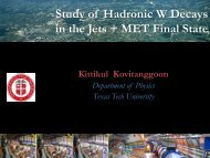 Study of Hadronic W Decays in the Jets + MET Final State