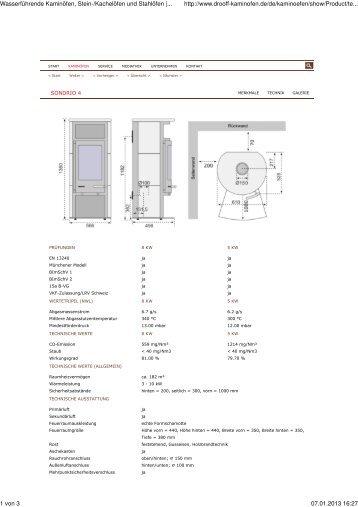 Technische Daten Sondrio 4 - Feuerhaus Kalina