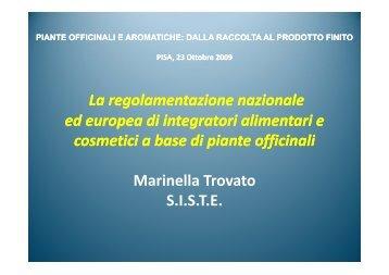 Marinella Trovato, Società Italiana Scienze e Tecniche Erboristiche