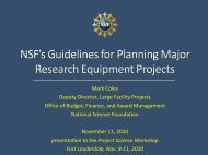 NSF's Guidelines for Planning Major Research ... - Project Science