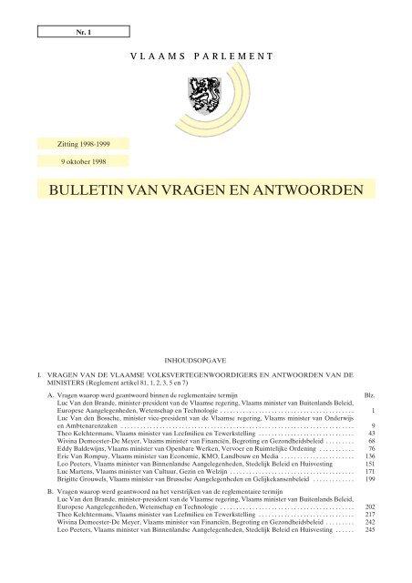 Tekst Vlaams Parlement