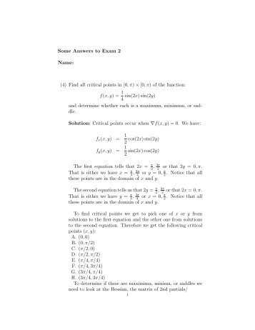 Some Answers to Exam 2 Name: (4) Find all critical ... - Westmont