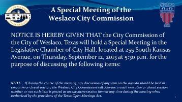 1. Agenda, Sept. 12, 2013 - City of Weslaco