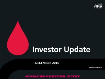 December Placement Investor Update - ADX Energy