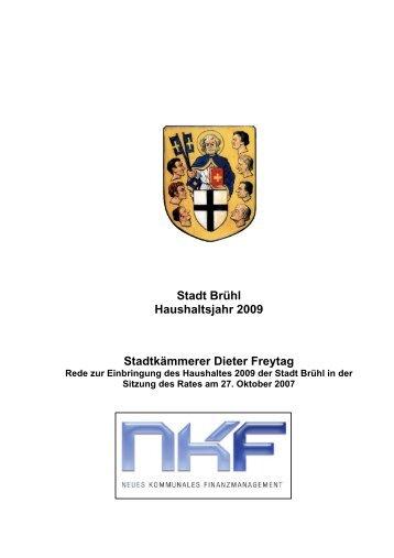 Stadt Brühl Haushaltsjahr 2009 Stadtkämmerer Dieter Freytag