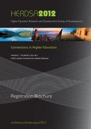 Registration Brochure & Form - HERDSA 2013 conference