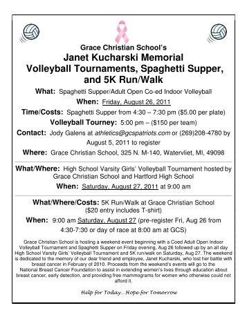 Janet Kucharski Memorial Volleyball Tournaments ... - Grace Christian