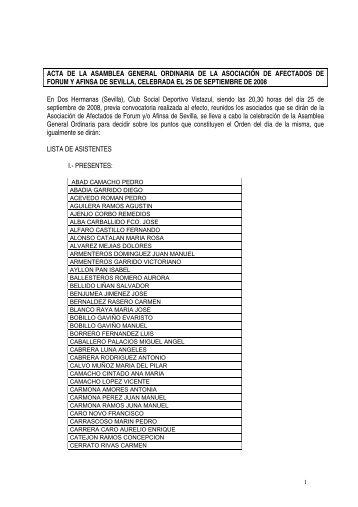 ACTA DE LA ASAMBLEA GENERAL CELEBRADA ... - pafasevilla.org