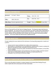 GENERAL INFORMATION COURSE ... - Honors College