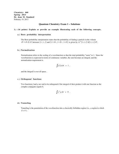 Quantum Chemistry Exam 1 – Solutions