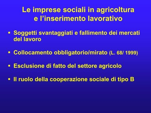 Agricoltura sociale: esperienze in Italia ed in Europa - Saverio Senni