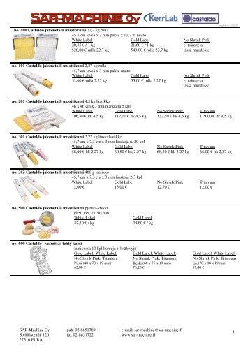 Kumit, vahat, kipsit ja muut valutarvikkeet - SAR-Machine Oy