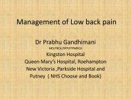 Management of Low Back Pain - Dr Prabhu ... - Parkside Hospital