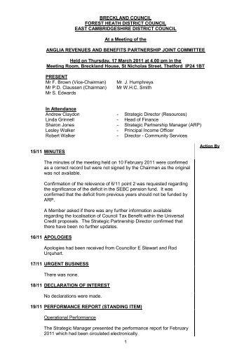 Minutes (Agenda Item 2) PDF 80 KB - Breckland Council