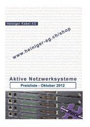 Preisliste Oktober 2012.xlsx - Heiniger Kabel AG