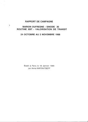 rapport de campagne marion dufresne- sinode 30 routine xbt