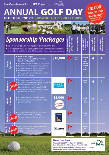 2012 Golf Day A4 Sponsorship flyer - Petroleum Club Of WA