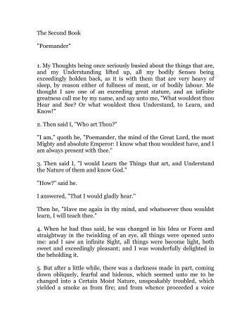 hermes trismegistus, book 2 - Holy Order Golden Dawn