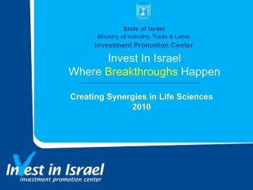 Creating Synergies in Life Sciences - Invest in Israel