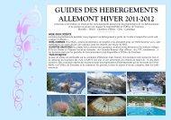 GUIDES DES HEBERGEMENTS ALLEMONT HIVER 2011-2012