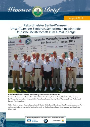 Wannsee Brief - Der Golf- und Land-Club  Berlin-Wannsee eV