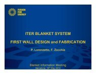 ITER BLANKET SYSTEM FIRST WALL DESIGN and ... - Iter Industry