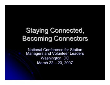 Staying Connected, Becoming Connectors - Major Giving Initiative