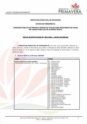 Edital 005/2009 - Locais e Horários de Provas - asperhs