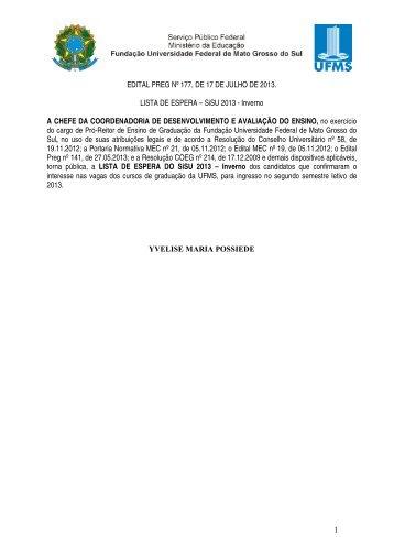Sistema de Seleção Unificada 2013 - Inverno - copeve - ufms