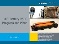 U.S. Battery R&D Progress and Plans - Department of Energy
