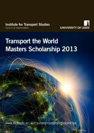 Transport the World Masters Scholarship 2013 - Institute for ...
