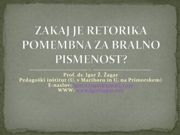 Prof. dr. Igor Ž. Žagar Pedagoški inštitut (U. v Mariboru in U. na ...