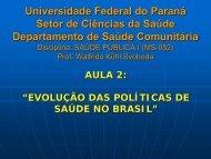 Universidade Federal do Paraná Setor de ... - Saúde Pública I