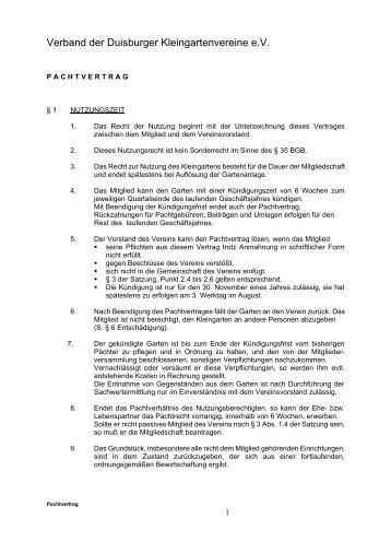 Pachtvertrag - Verband der Duisburger Kleingartenvereine eV