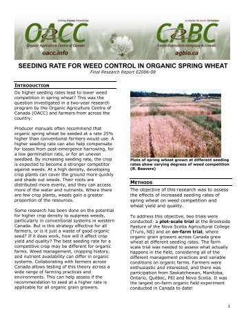 Seeding rate for weed control in organic spring wheat - Centre d ...