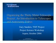 Organizing the Thirty Meter Telescope Project: An ... - Project Science