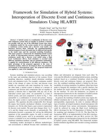 Framework for Simulation of Hybrid Systems: Interoperation of ...