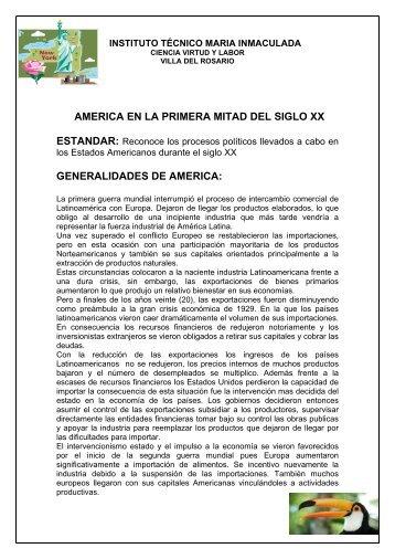 AMERICA EN LA PRIMERA MITAD DEL SIGLO XX ... - Webcolegios