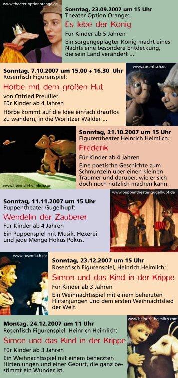 Flyer 2007/2 - Figurentheater Heinrich Heimlich